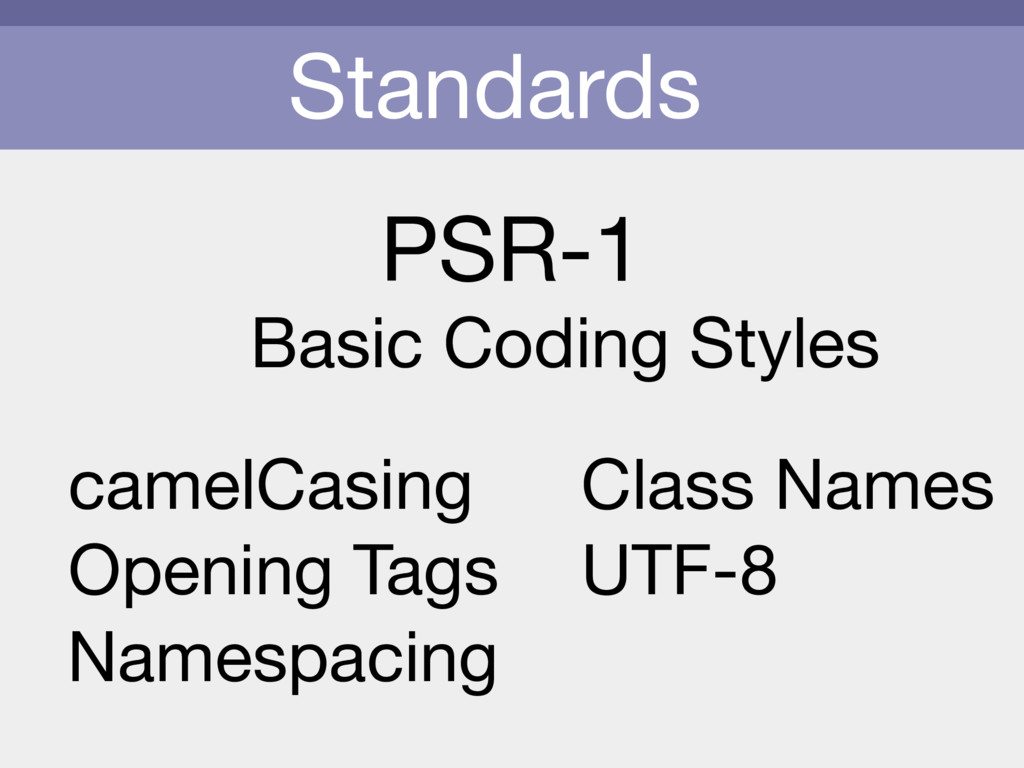 Standards PSR-1 Basic Coding Styles camelCasing...