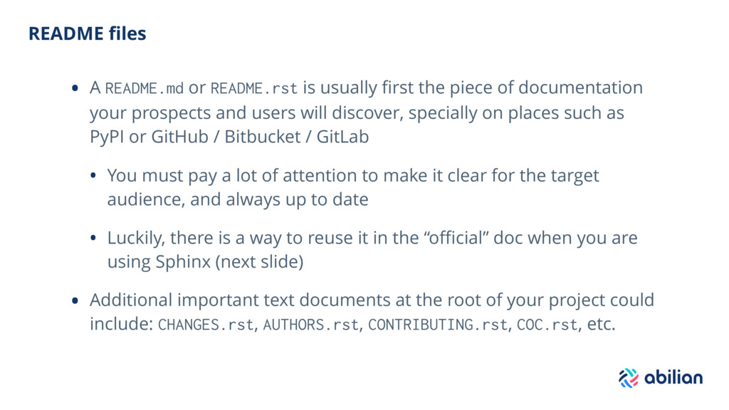 README files • A README.md or README.rst is usua...