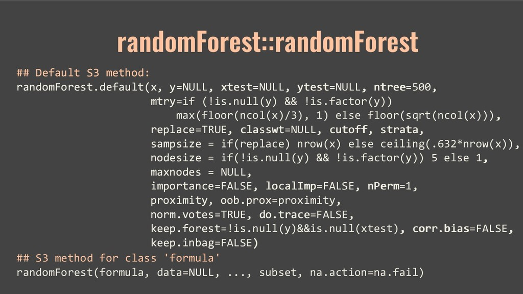 ## Default S3 method: randomForest.default(x, y...