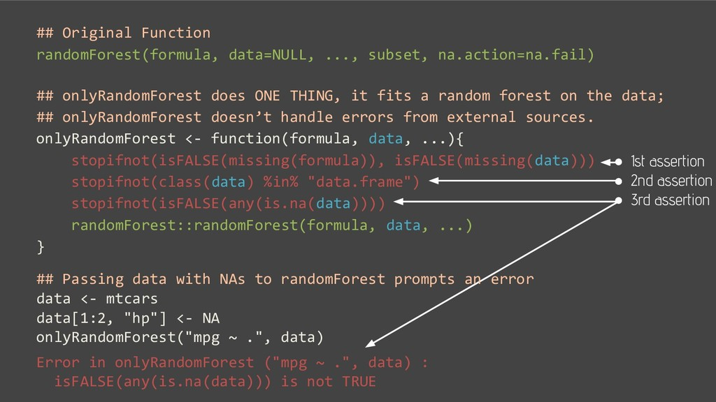 ## Original Function randomForest(formula, data...