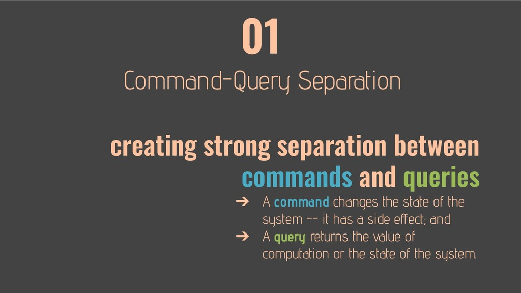 01 creating strong separation between commands ...