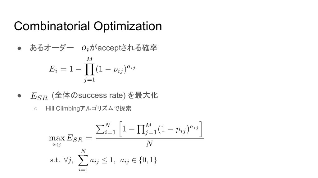 Combinatorial Optimization ● あるオーダー がacceptされる確...