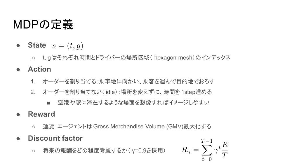 MDPの定義 ● State ○ t, gはそれぞれ時間とドライバーの場所区域( hexago...
