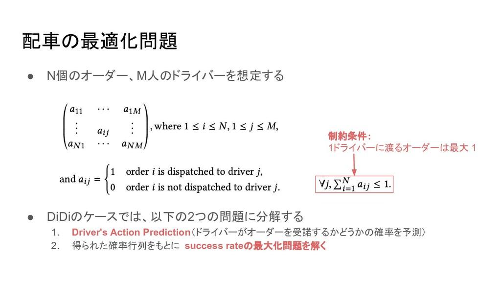 配車の最適化問題 ● N個のオーダー、M人のドライバーを想定する ● DiDiのケースでは、以...