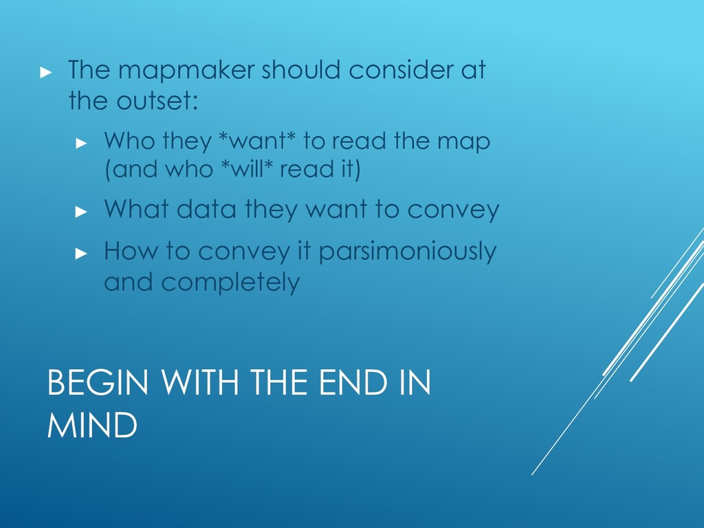 BEGIN WITH THE END IN MIND ▶ The mapmaker shoul...
