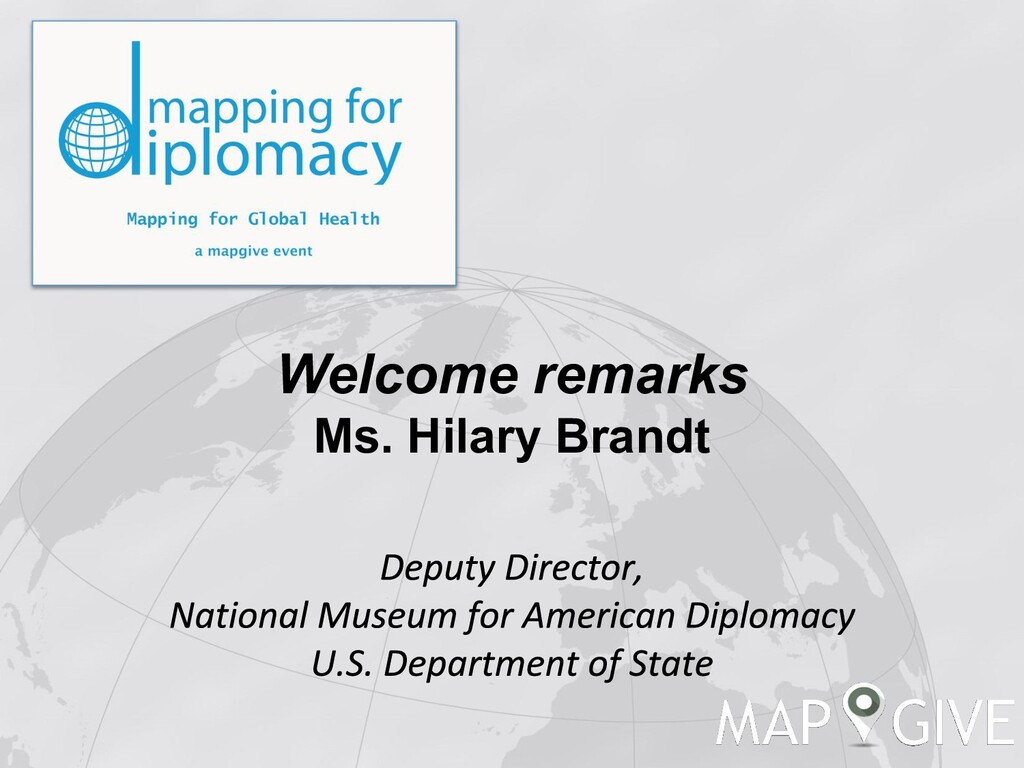 Welcome remarks Ms. Hilary Brandt