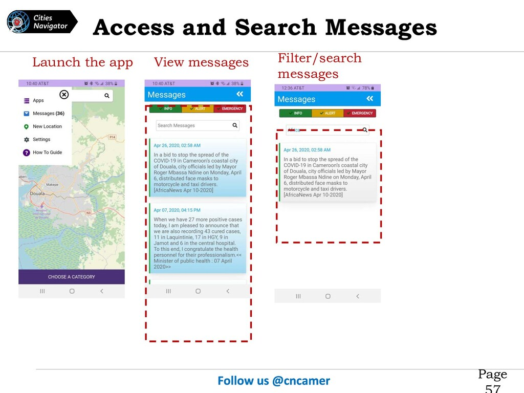 Page Launch the app View messages Filter/search...