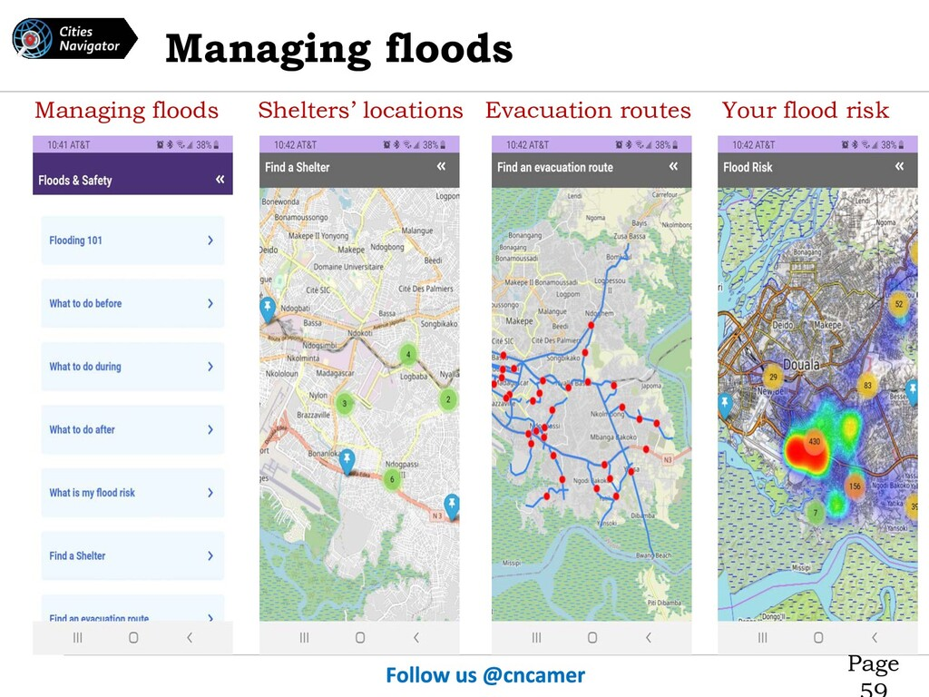Page Managing floods Shelters' locations Evacua...