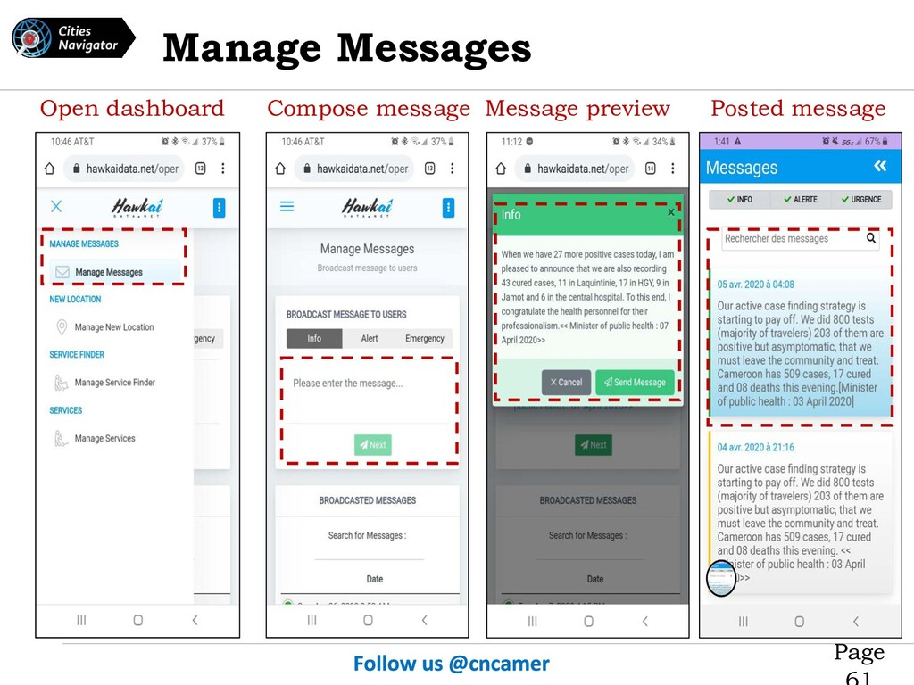 Page Open dashboard Compose message Message pre...