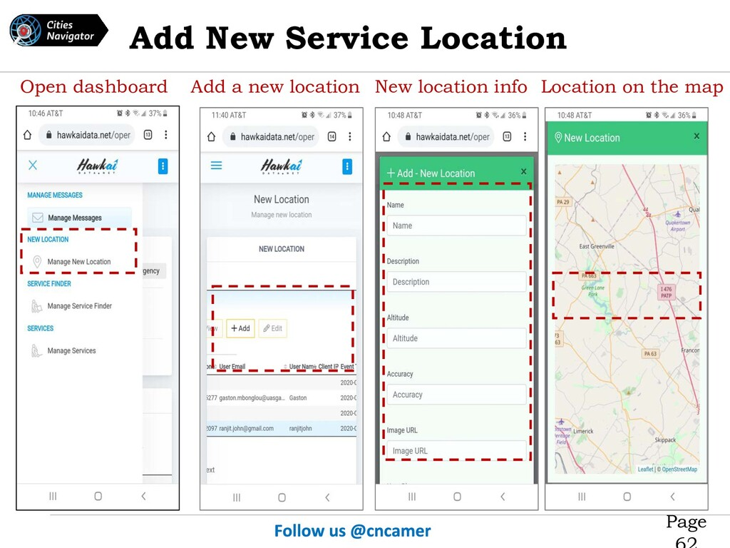 Page Open dashboard Add a new location New loca...