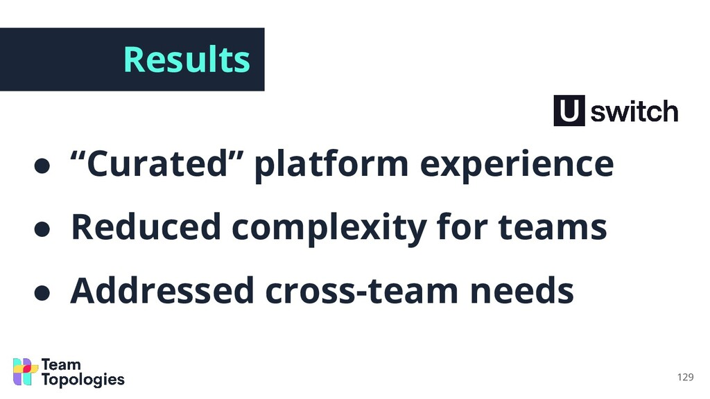 """Results ● """"Curated"""" platform experience ● Reduc..."""