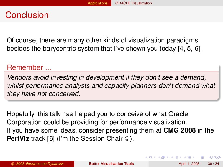 Applications ORACLE Visualization Conclusion Of...