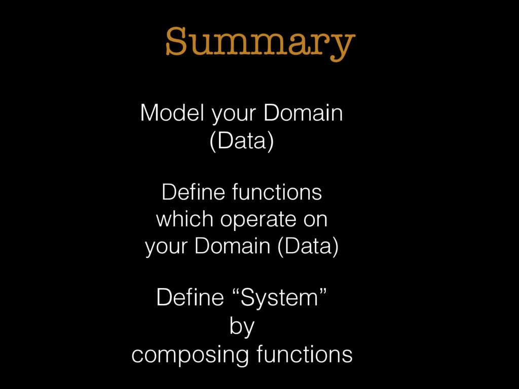 Summary Model your Domain (Data) Define function...