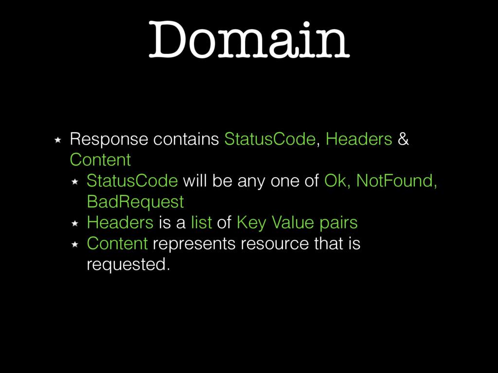 Domain Response contains StatusCode, Headers & ...