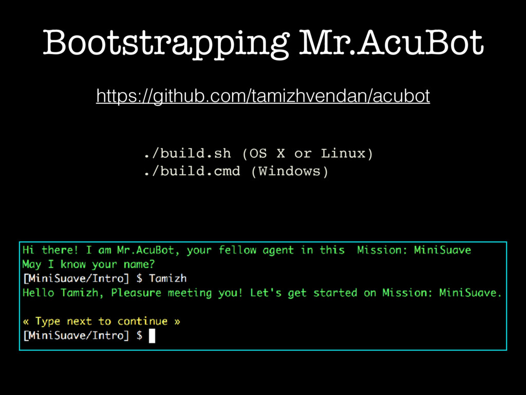 Bootstrapping Mr.AcuBot https://github.com/tami...
