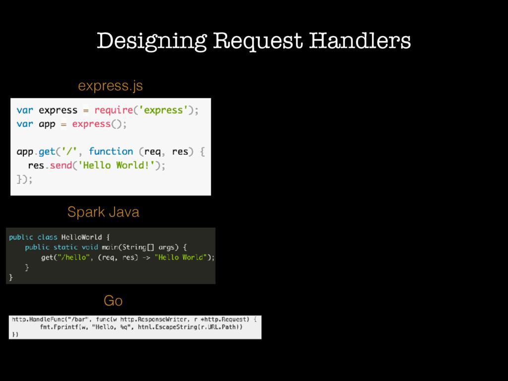 Designing Request Handlers express.js Go Spark ...