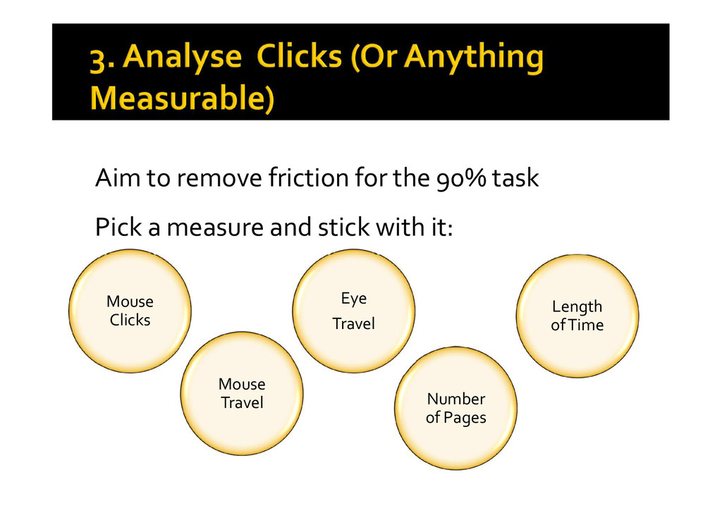 Aim to remove friction for the 90% task Pick a ...