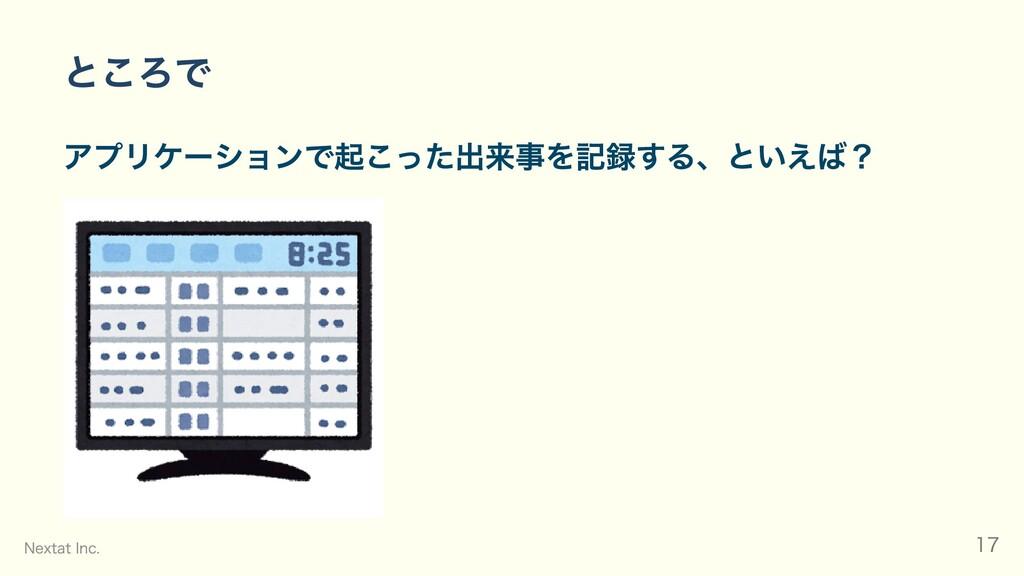 ところで アプリケーションで起こった出来事を記録する、といえば? Nextat Inc. 17