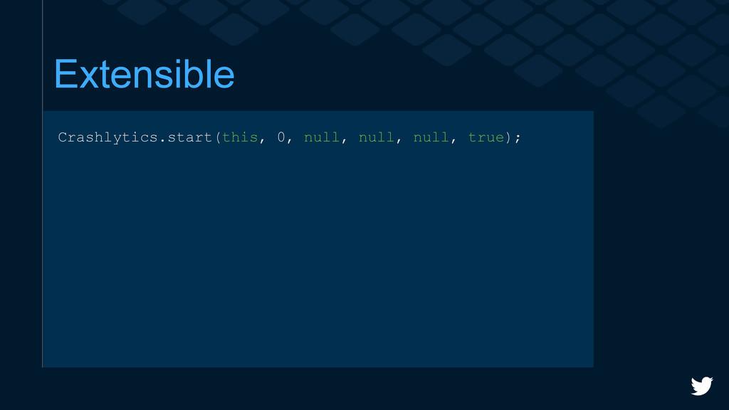 Extensible Crashlytics.start(this, 0, null, nul...
