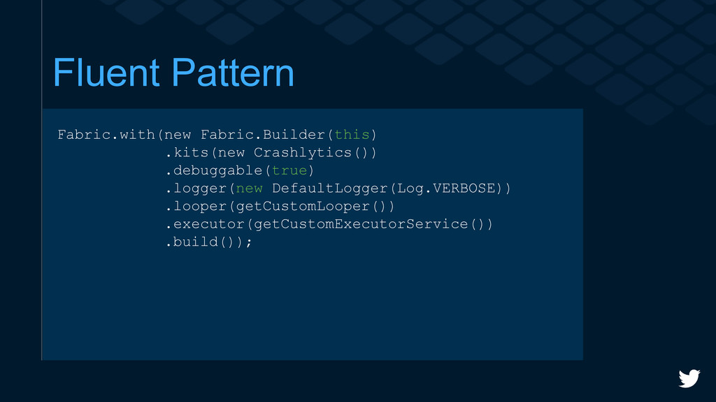 Fluent Pattern Fabric.with(new Fabric.Builder(t...