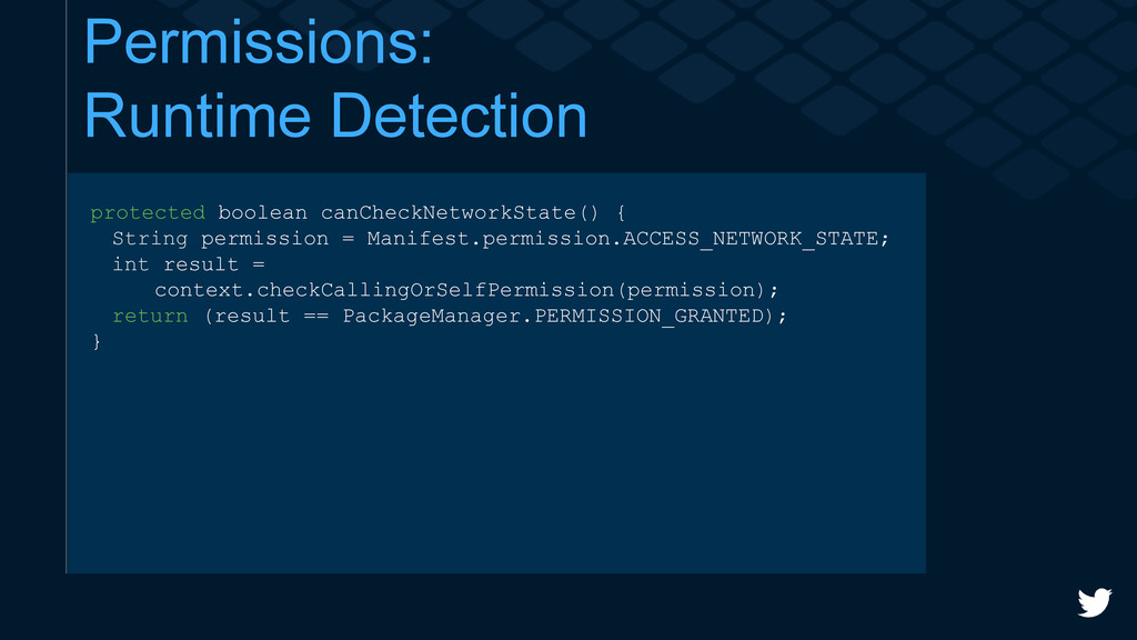 Permissions: Runtime Detection protected boolea...