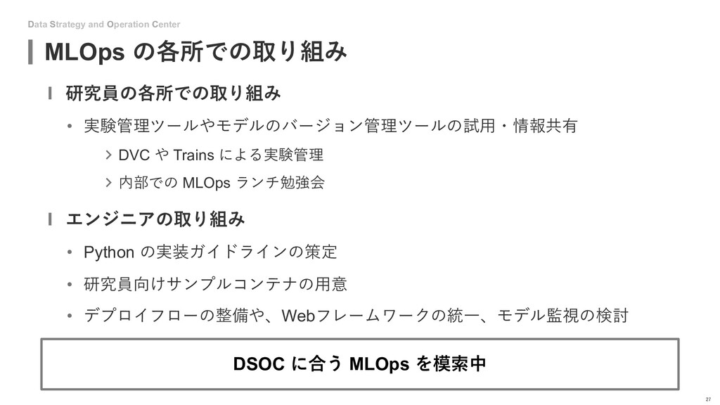 Data Strategy and Operation Center MLOps の各所での取...