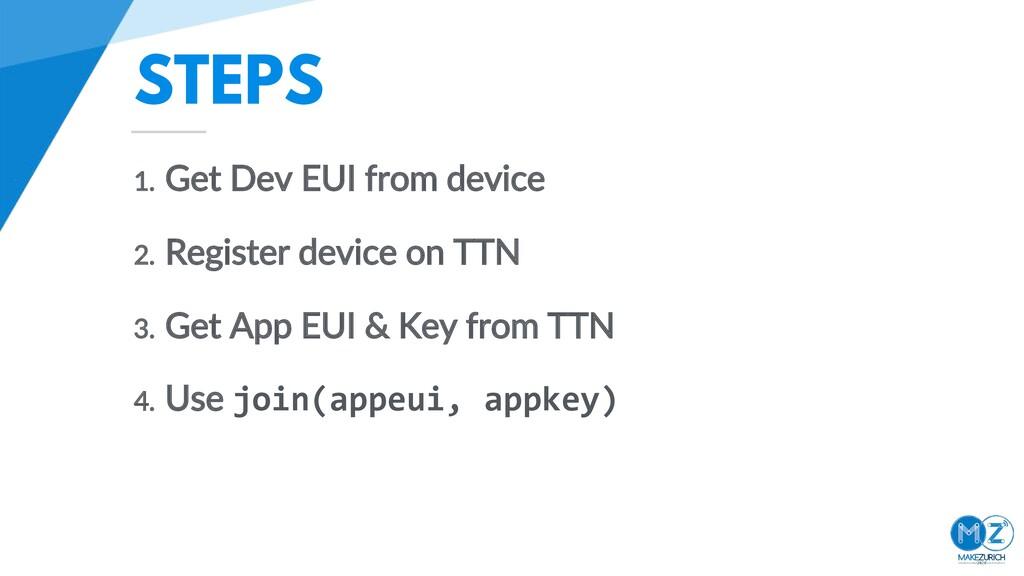 STEPS 1. Get Dev EUI from device 2. Register de...