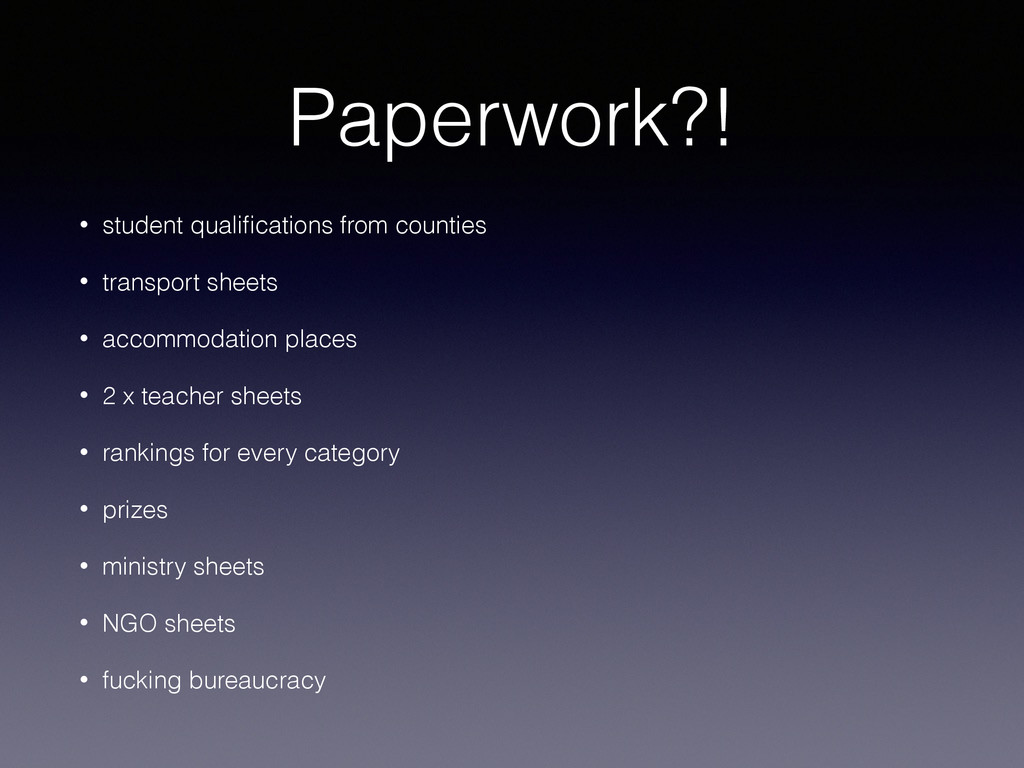 Paperwork?! • student qualifications from counti...