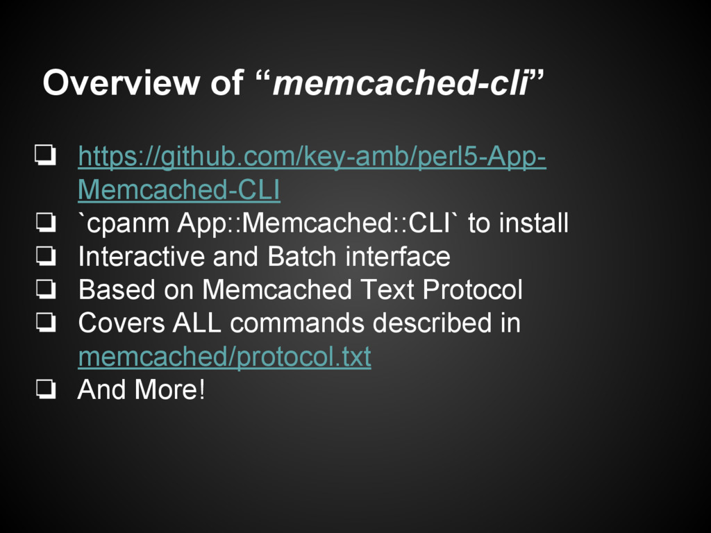 "Overview of ""memcached-cli"" ❏ https://github.co..."
