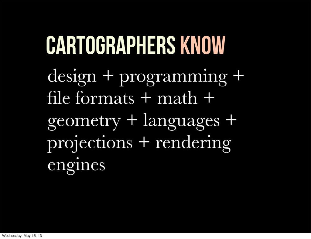 Cartographers KNOW design + programming + file f...