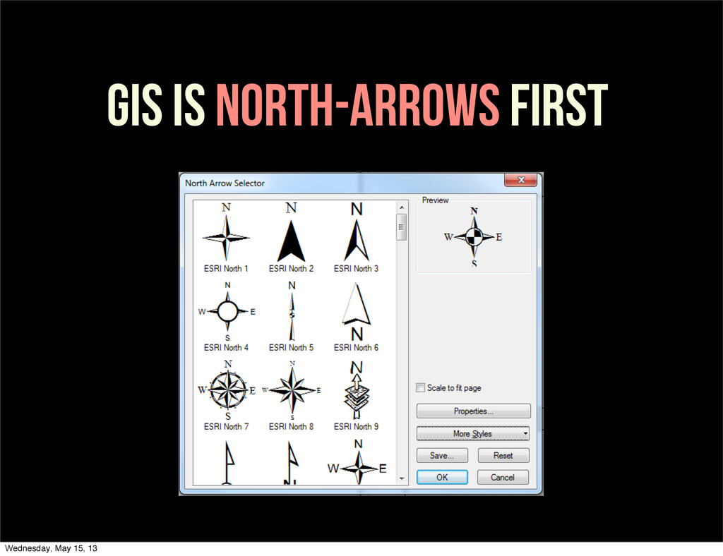 GIS IS NORTH-ARROWS FIRST Wednesday, May 15, 13