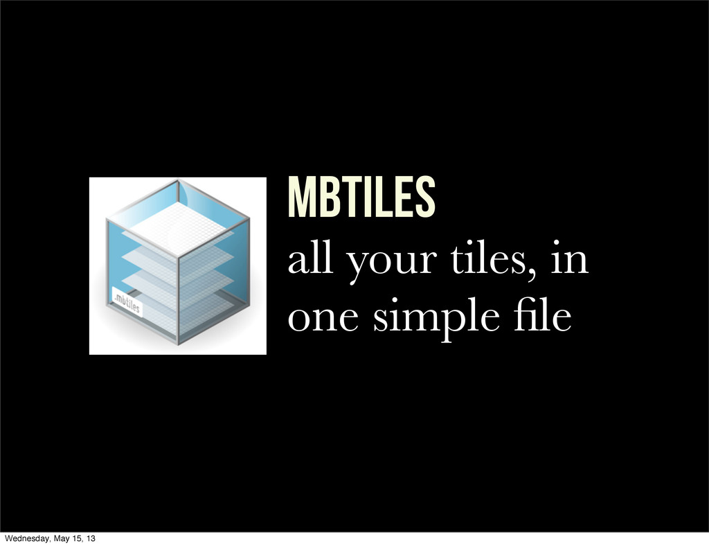 mbTILES all your tiles, in one simple file Wedne...