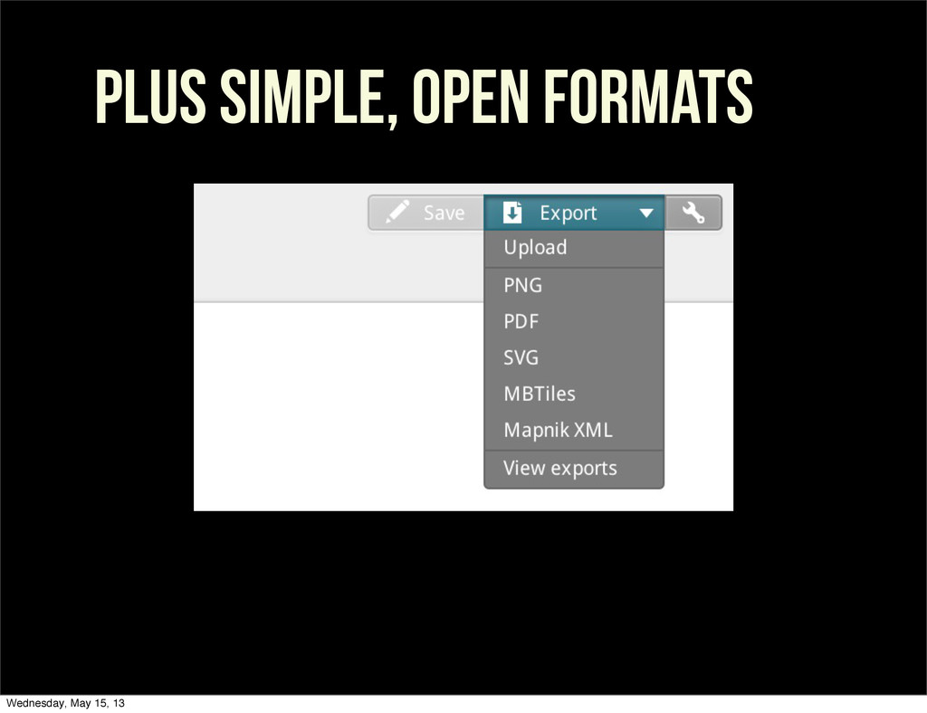 PLUS SIMPLE, OPEN FORMATS Wednesday, May 15, 13