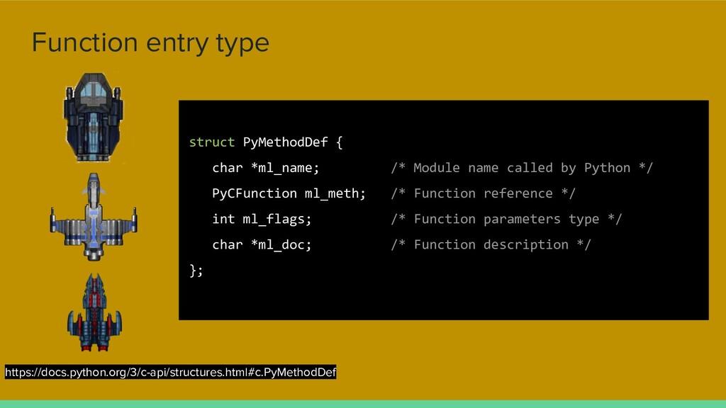 Function entry type struct PyMethodDef { char *...