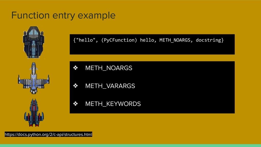 Function entry example ❖ METH_NOARGS ❖ METH_VAR...