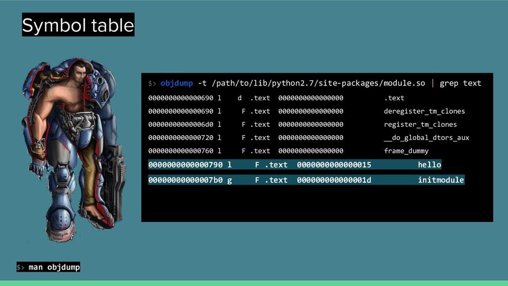 Symbol table $> objdump -t /path/to/lib/python2...