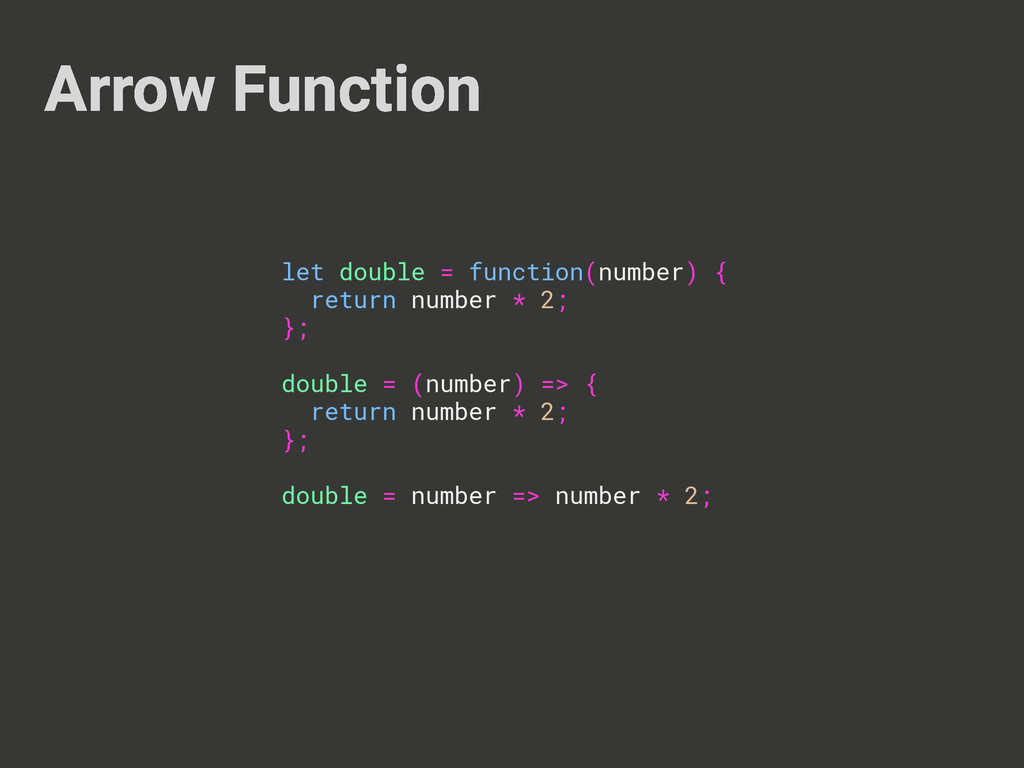 Arrow Function let double = function(number) { ...
