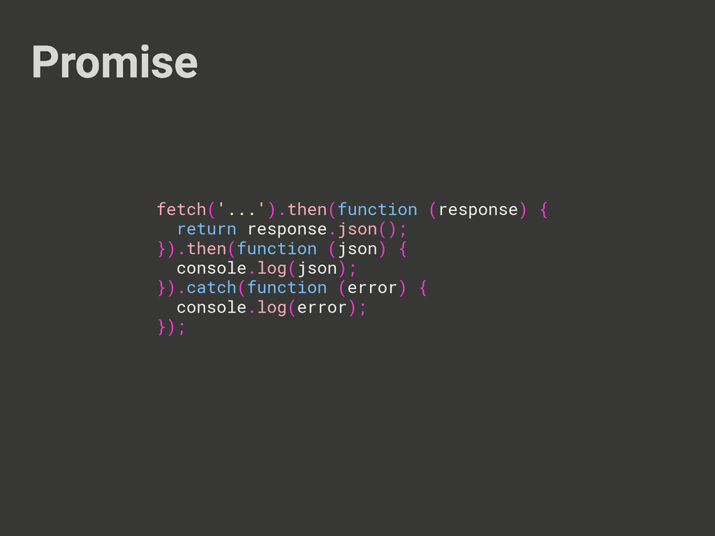 Promise fetch('...').then(function (response) {...