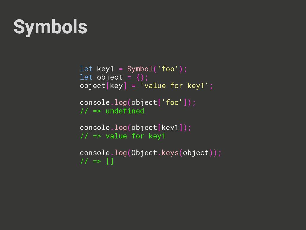 Symbols let key1 = Symbol('foo'); let object = ...