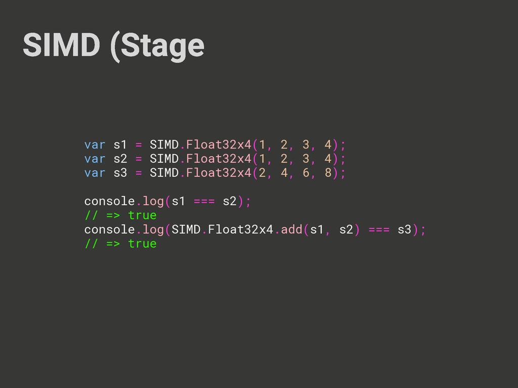 SIMD (Stage var s1 = SIMD.Float32x4(1, 2, 3, 4)...