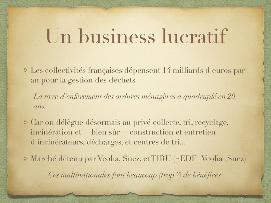 Un business lucratif Les collectivités français...