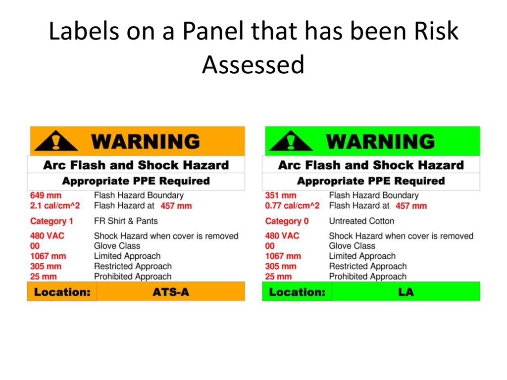 Labels on a Panel that has been Risk Assessed