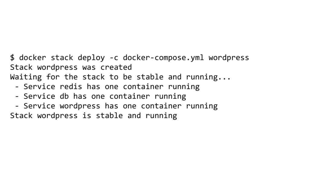 $ docker stack deploy -c docker-compose.yml wor...