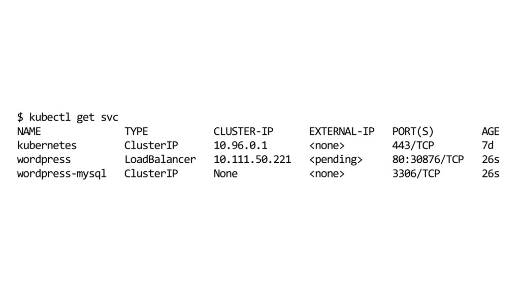 $ kubectl get svc NAME TYPE CLUSTER-IP EXTERNAL...