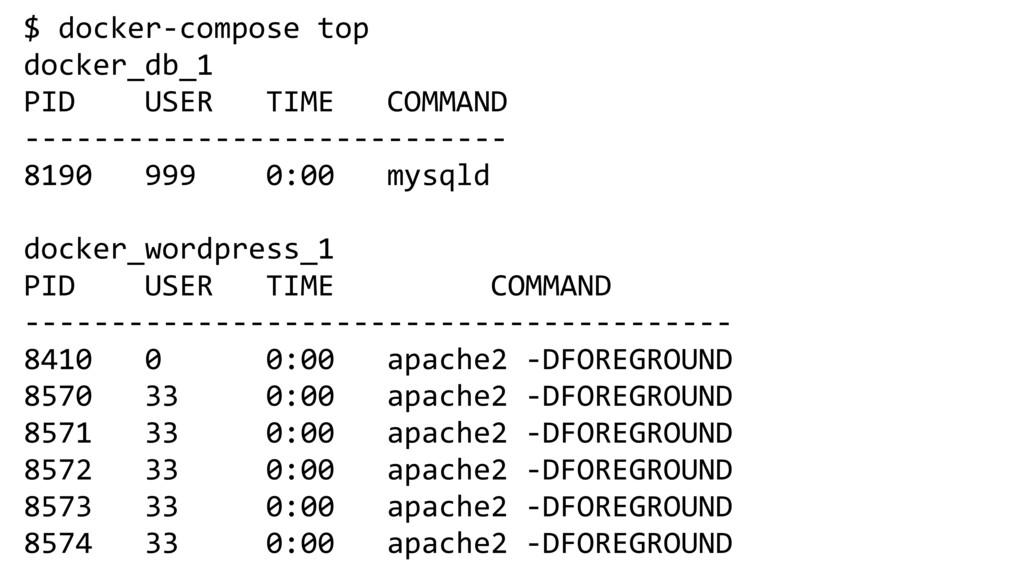 $ docker-compose top docker_db_1 PID USER TIME ...