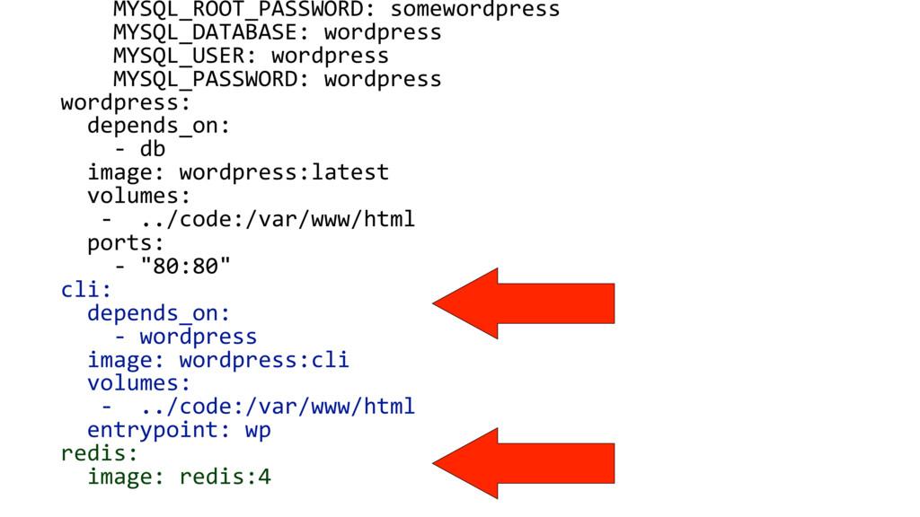 MYSQL_ROOT_PASSWORD: somewordpress MYSQL_DATABA...