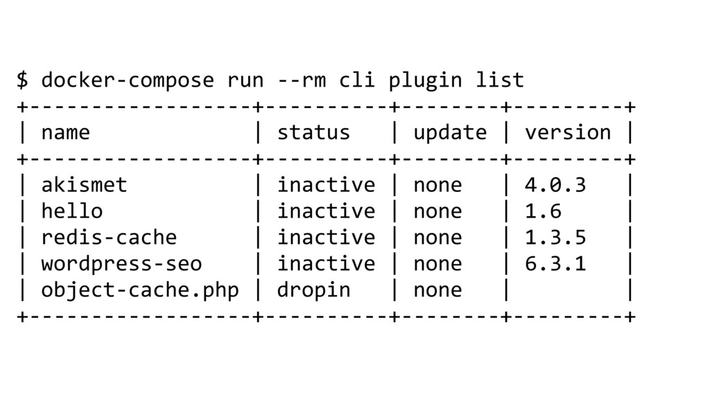 $ docker-compose run --rm cli plugin list +----...