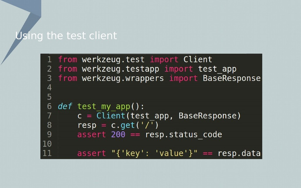 Using the test client