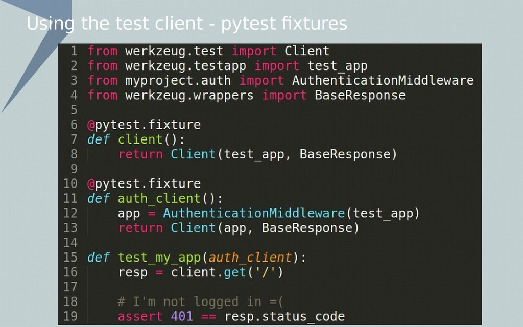 Using the test client - pytest fixtures