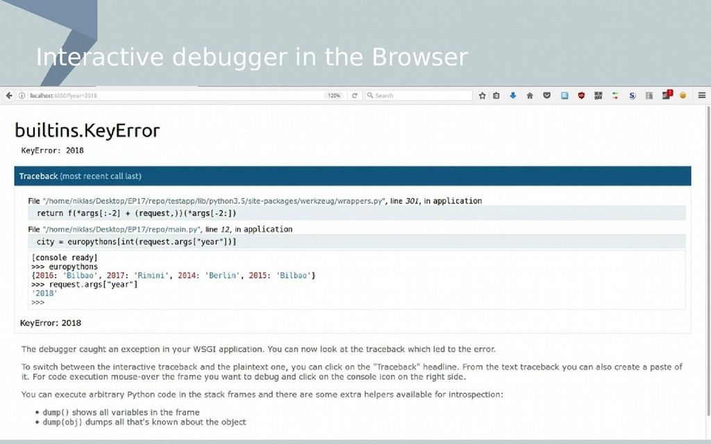 Interactive debugger in the Browser